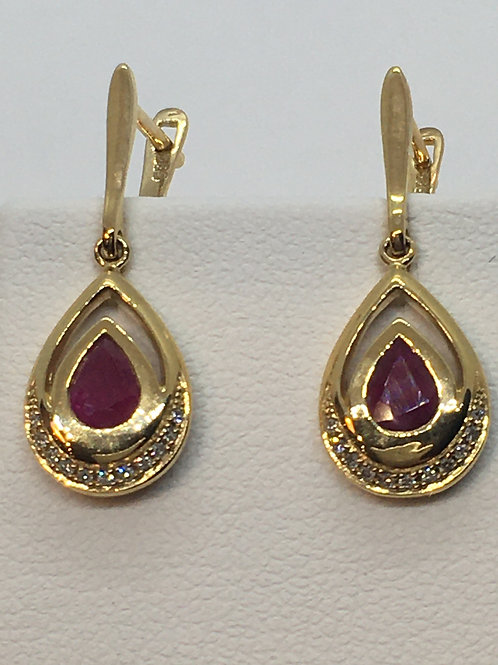 14ct Yellow Gold Ruby Diamond Earrings