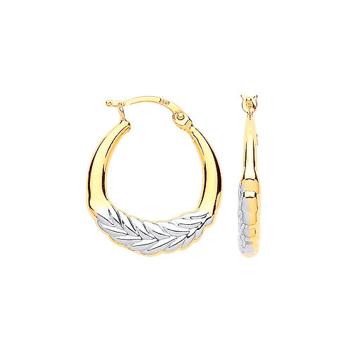 9ct White/yellow Gold Leaf Earrings