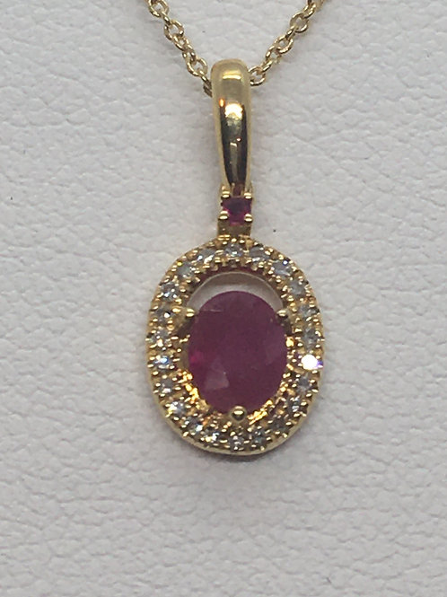 14ct Yellow Gold Ruby Diamond Necklace