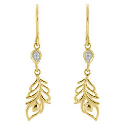 9ct Yellow Feather Drop Earrings