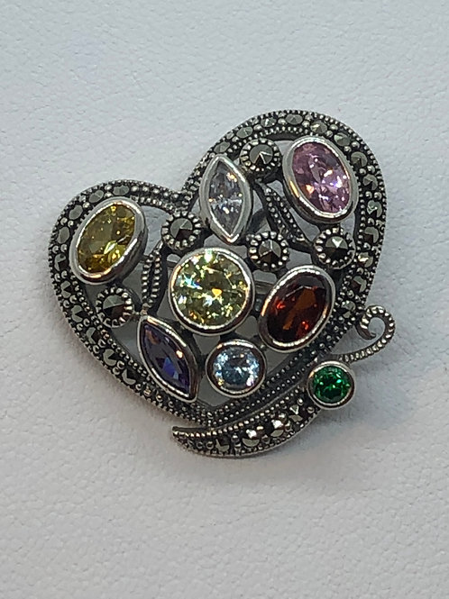 Sterling Silver Marcasite Heart Brooch/Pendant