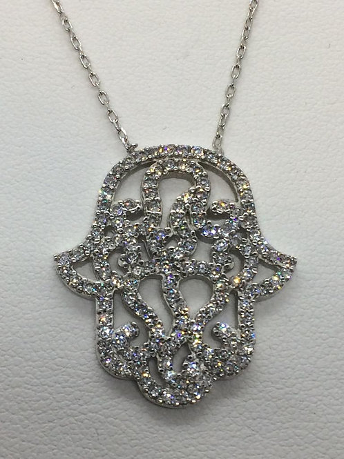 Sterling Silver Hamza Necklace