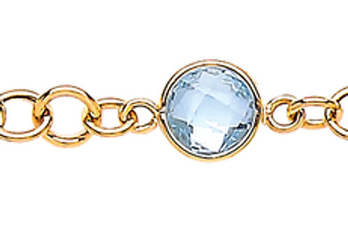 9ct Yellow Gold Amethys & Blue Topaz Bracelet