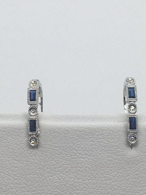 14ct White Gold Diamond Sapphire Earrings