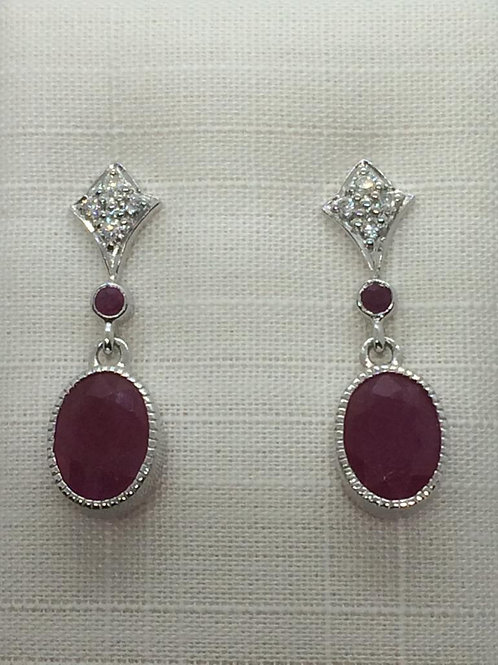 9ct White Gold Ruby Diamond Earrings