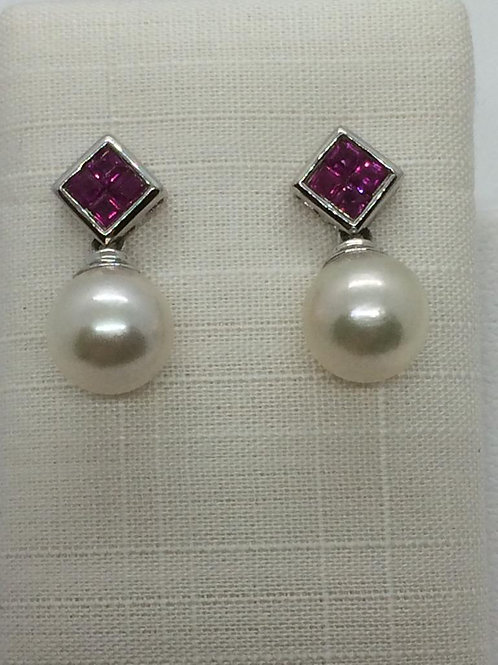 14c White Gold Ruby Pearl Earrings