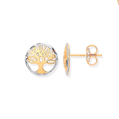9ct white/yellow Gold Tree of Life Studs