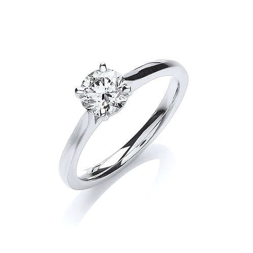 18ct White Gold Diamond ring solitaire 0.70ct