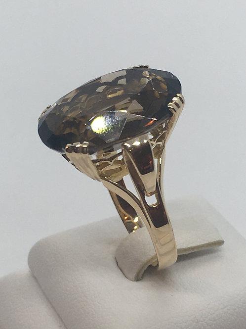 9ct Yellow Gold Ring set with Smokey Quartz