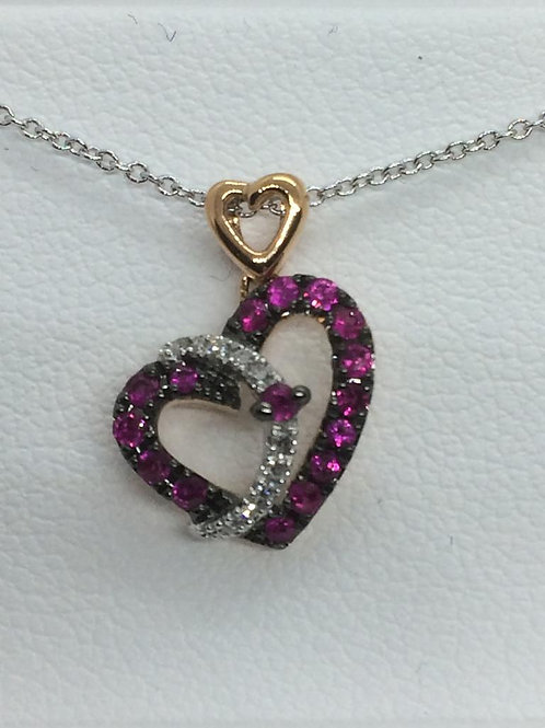 14ct White Gold Ruby -Diamond Necklace