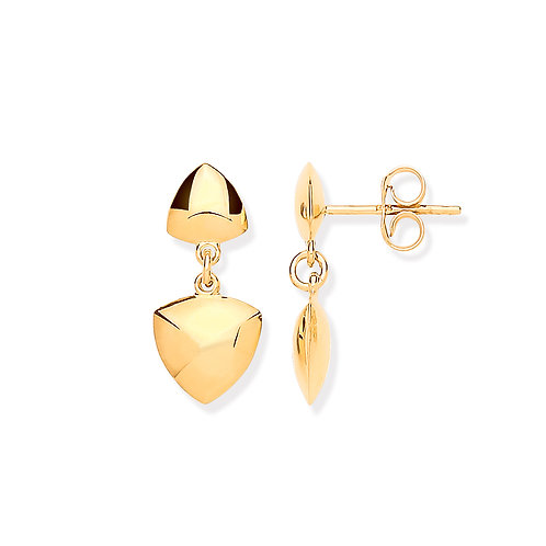 9ct yellow Gold Triangle Drop Earrings
