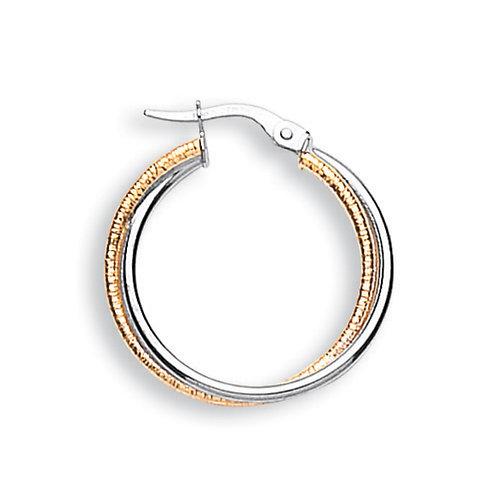 9ct white/Yellow Gold hoop Earrings