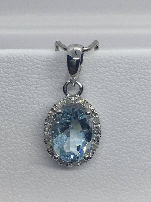 14ct White Gold Diamond Aquamarine Pendant