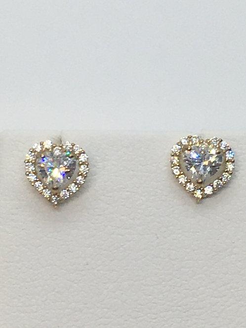 9ct Yellow Gold Heart Shaped Cubic Zirconia Earrings