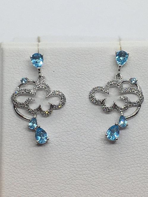 14ct White Gold Diamond Blue Topaz Earrings