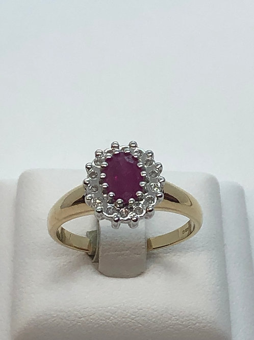 14ct Yellow Gold Ruby Diamond Ring