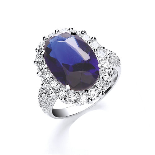 Sterling Silver Blue & White CZ Ring