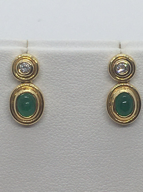 18ct Yellow Gold Diamond Emerald Earrings