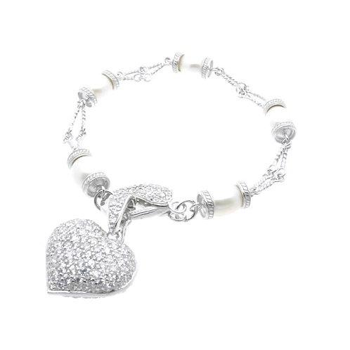 Heart Shaped Pearl Bracelet