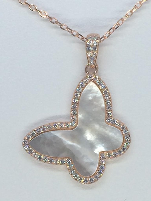 Sterling Silver 925 Rose Gold plated Mother of Pearl Butterfly Necklace