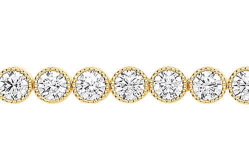9ct yellow Gold CZ Ribbed edge Tennis Bracelet