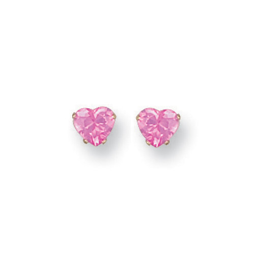 9ct Yellow Gold Heart pink Studs