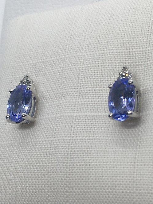 9ct yellow Gold Diamond and Tanzanite Earrings