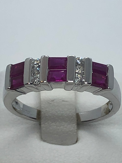 18ct White Gold Ruby Diamond Ring