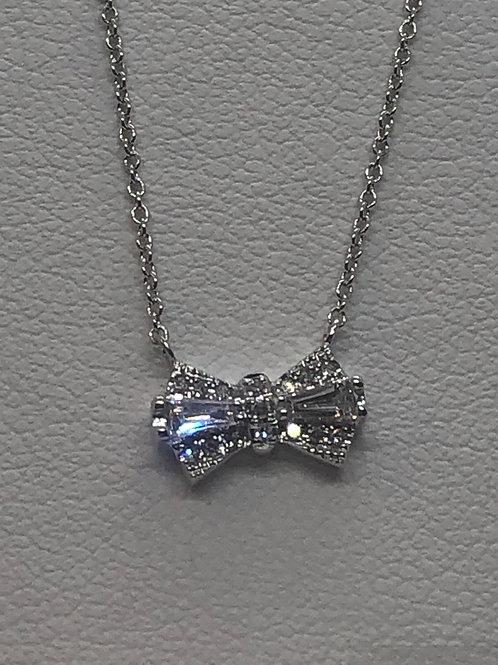 14ct White Gold Diamond Bow Necklace