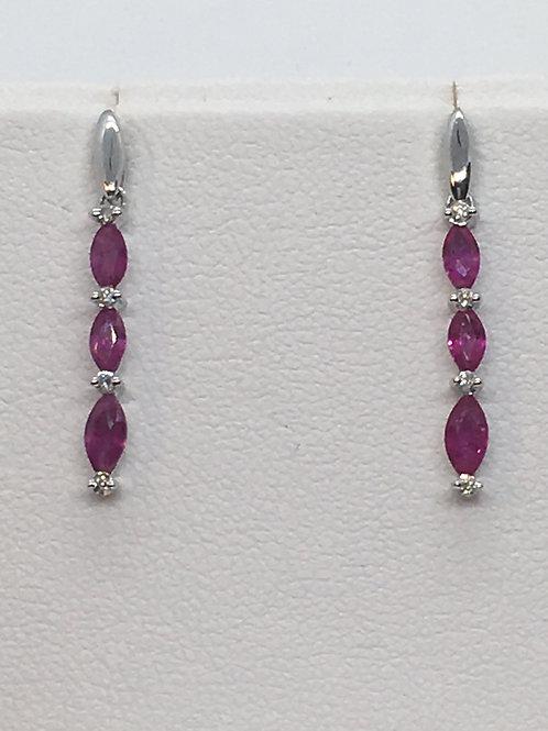 14ct White Gold Ruby Diamond Earrings