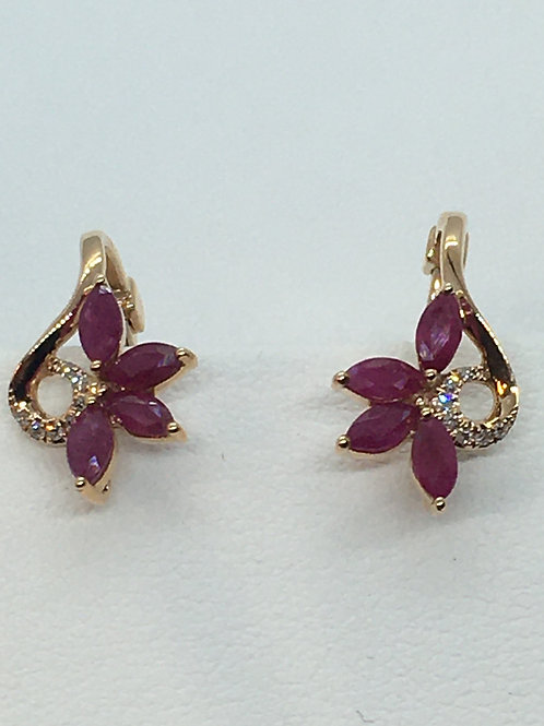 14ct Yellow Gold Ruby Diamond Earrings