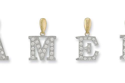 9ct yellow Gold Small CZ Initials