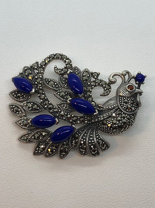 Sterling Silver Marcasite Peacock Brooch/Pendant