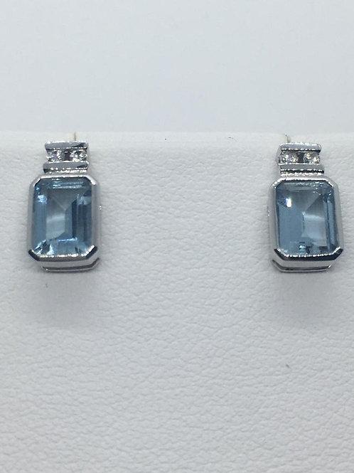 18ct White Gold Diamond  Aquamarine Earrings