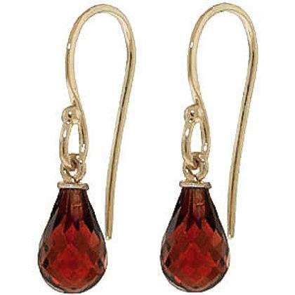 Garnet Earrings in 9ct Gold, 2.70ct Briolette Cut