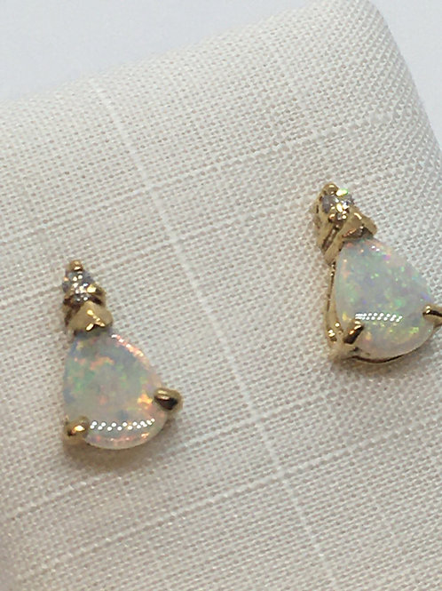 9ct Gold  Diamond Opal Earrings