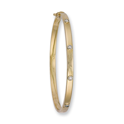 9ct yellow gold CZ Bangle