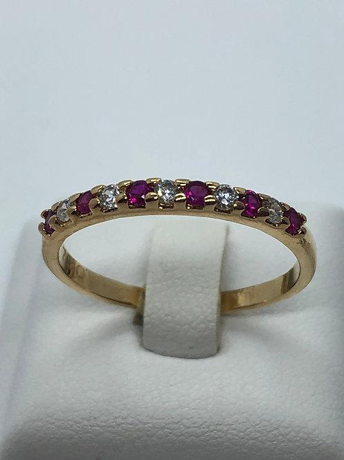 18ct Yellow Gold Diamond Ruby Half Eternity Ring
