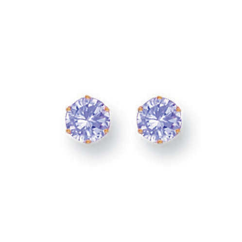 9ct yellow gold 5mm Lavender CZ studs