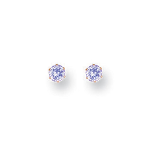 9ct yellow gold 3mm Lavender CZ Studs