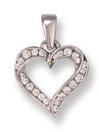 9ct White Gold CZ heart pendant