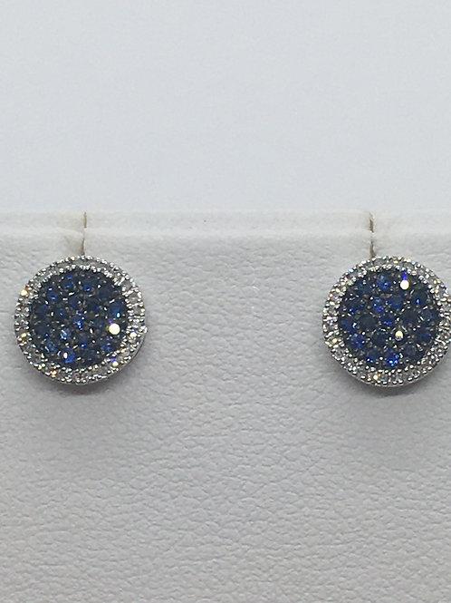 14ct White Gold Sapphire Diamond Earrings
