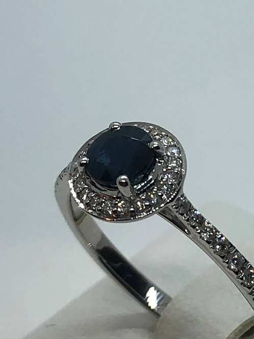 9ct White Gold Sapphire Diamond Ring