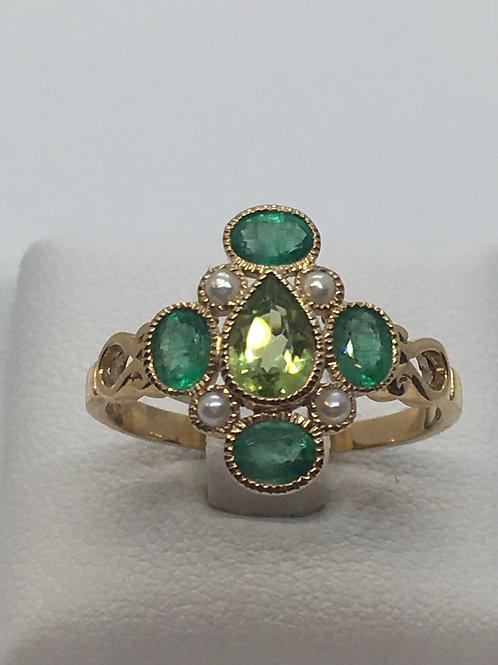 9ct Yellow Emerald Pearl Ring