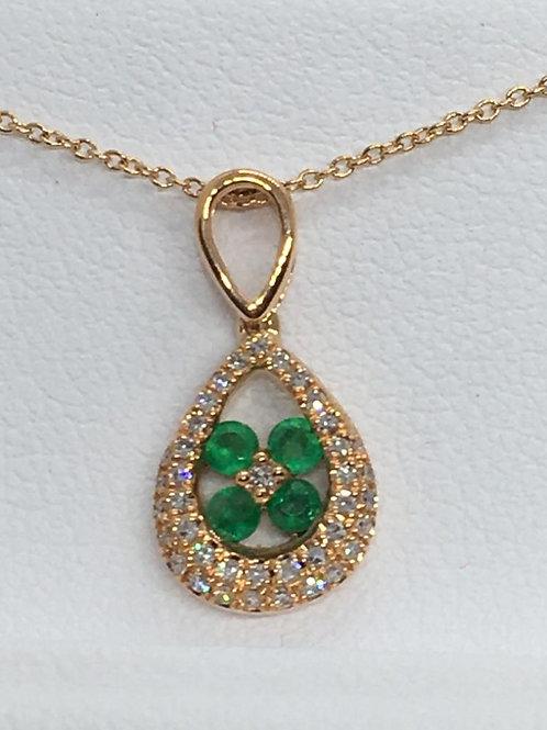 14ct White Gold Emerald Diamond Necklace