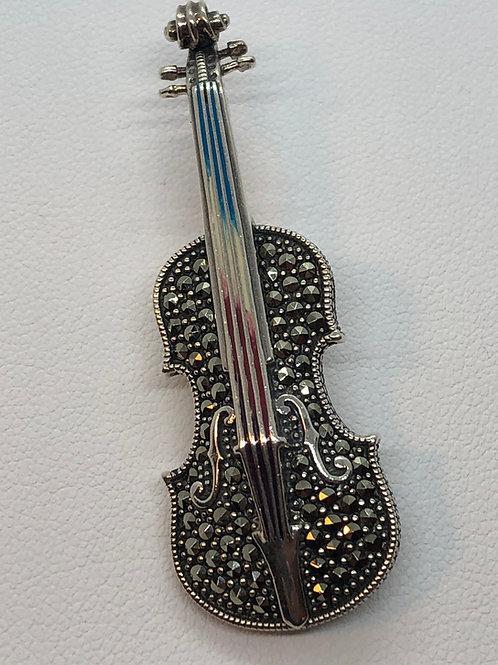 Sterling Silver Marcasite Violin Brooch/Pendant