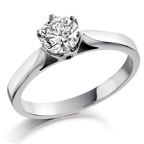 CERTIFIED 0.50CT 18K WHITE GOLD ENGAGEMENT RING