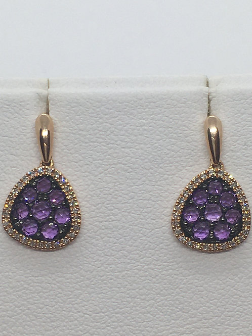 14ct Rose Gold Diamond Amethyst Earrings