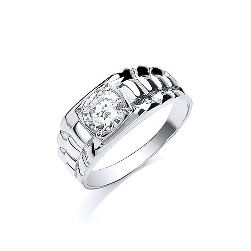 9ct White Gold Gents CZ Ring