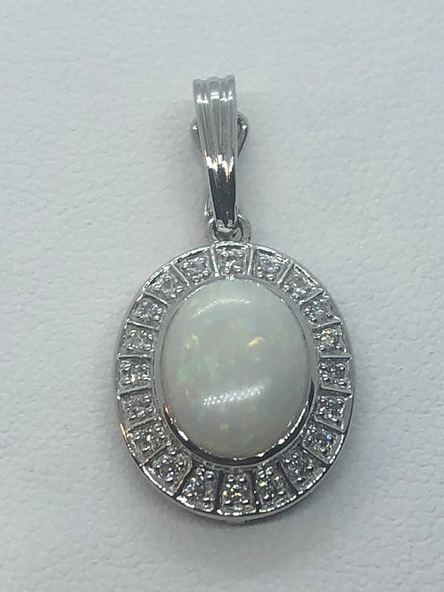 14ct White Gold Diamond Opal Pendant